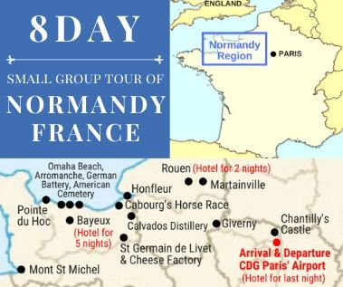 8 day normandy tour map